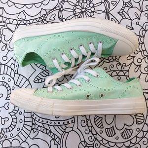 Converse Shoes - Converse seafoam green eyelette lace chuck taylors